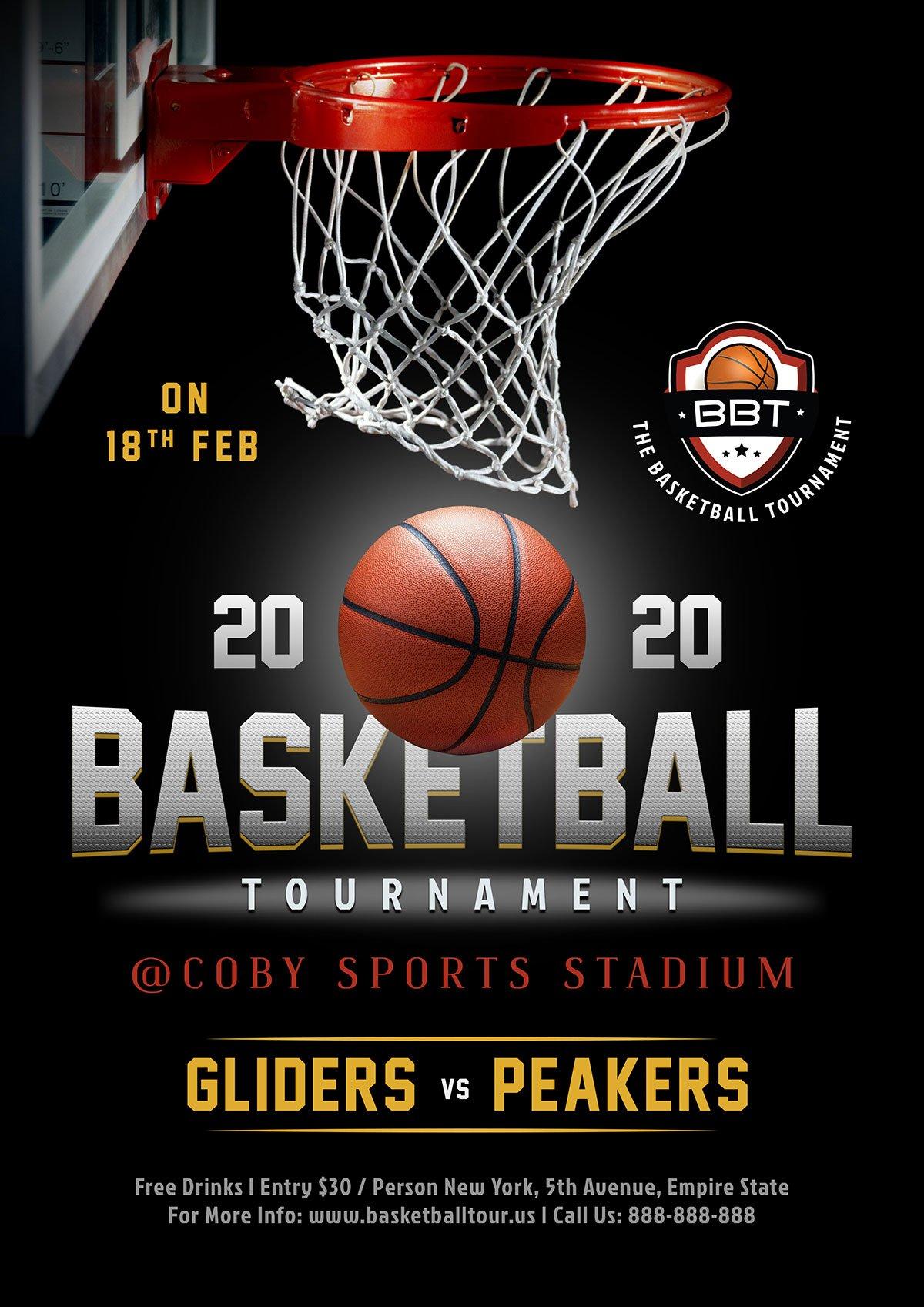 Free Basketball Tournament Playoff Game Flyer Design