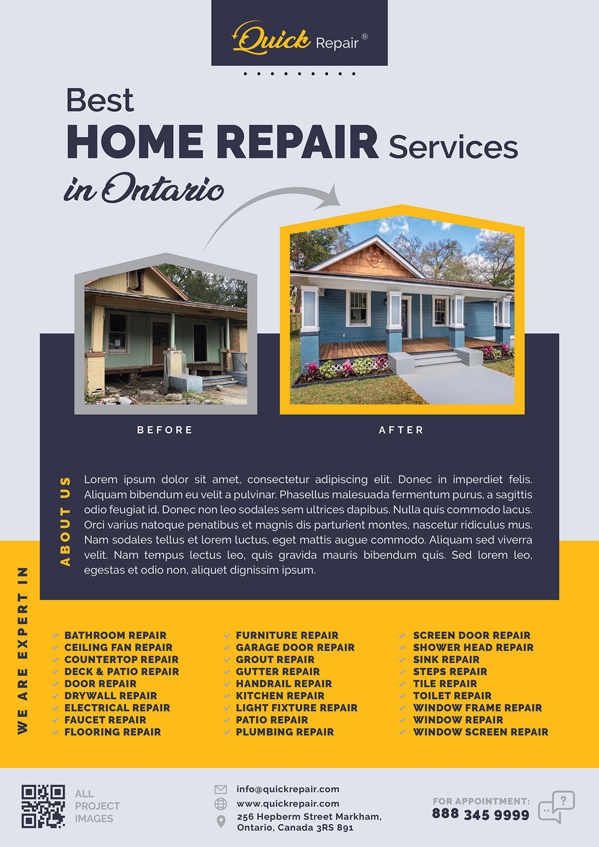 2 Free Road Construction Home Repair Services Flyer