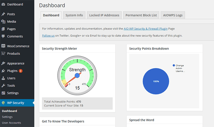 Dashboard-All-in-one 10 Plugins to Step Up WordPress Security
