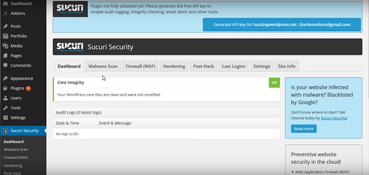 Sucuri-Settings 10 Plugins to Step Up WordPress Security