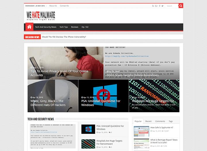 We-Hate-Malware 20 Impressive Websites Built With Sahifa WordPress Theme