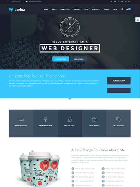 fox-theme 11+ Best WordPress Portfolio Themes to Showcase Your Work
