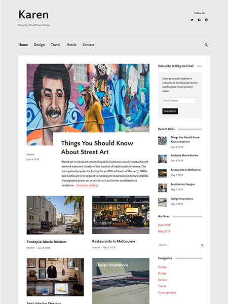 karen-wordpress-theme 20+ Best Personal WordPress Blog Themes For Corporate, Fashion, Travel, And Personal Blogs