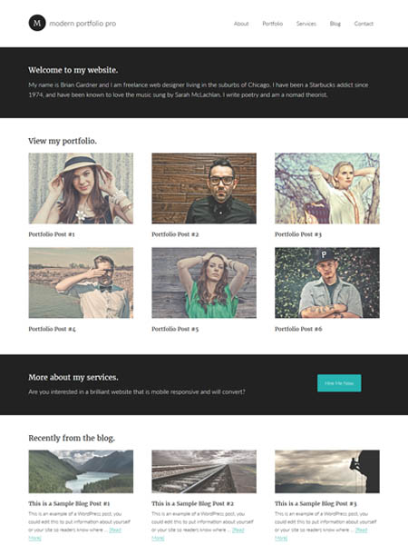 modern-portfolio-theme 11+ Best WordPress Portfolio Themes to Showcase Your Work