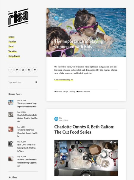 risa 20+ Best Personal WordPress Blog Themes For Corporate, Fashion, Travel, And Personal Blogs