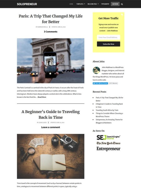 solopreneur 20+ Best Personal WordPress Blog Themes For Corporate, Fashion, Travel, And Personal Blogs
