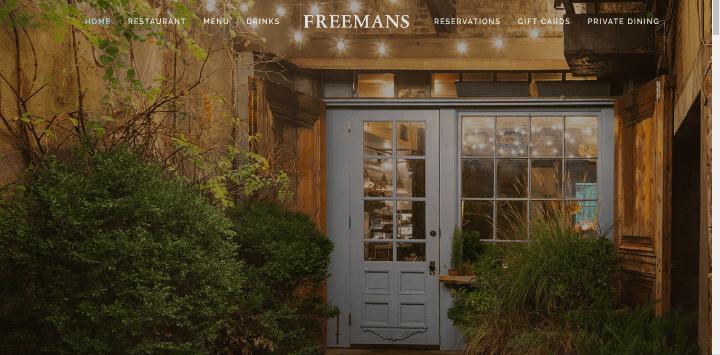 Freemans-Restaurant 25 Examples of Unique Sites Using Squarespace