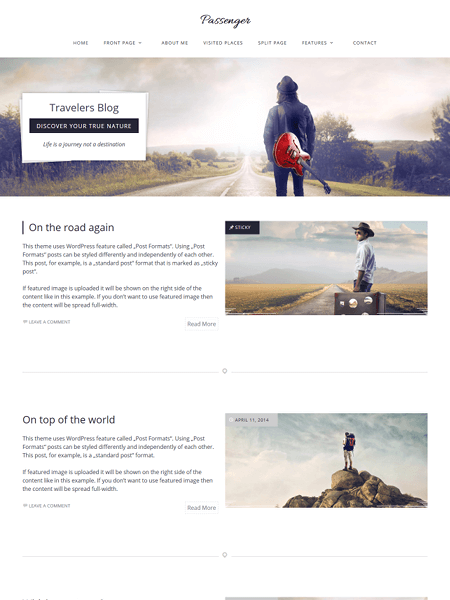 passenger 20 Adventurous WordPress Travel Blog Themes for 2017