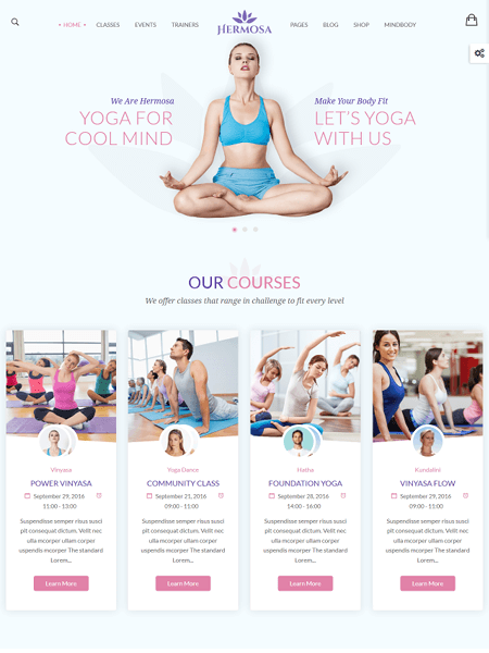 hermosa 22 of the best Yoga & Fitness WordPress Themes for 2017