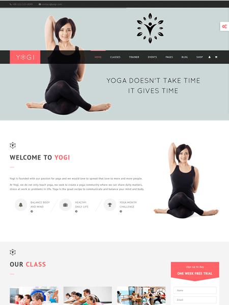 yogi 22 of the best Yoga & Fitness WordPress Themes for 2017