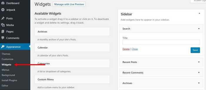 customize-sidebar How To Make A Website with WordPress – The Ultimate Guide