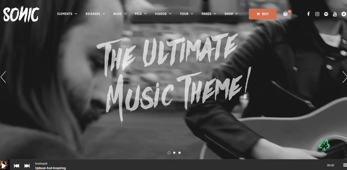 Sonic 13 of the Beautiful WordPress Themes for Musicians & Artists