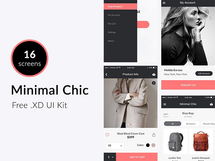 01-minimally-chic 22 Incredible Adobe XD Freebies For UI Designers