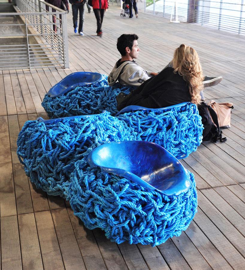 Tom Price Blue Rope Serpentine Bench