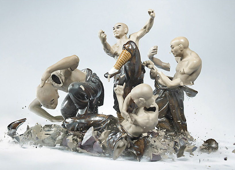 Martin Klimas' photographic piece of shattering ceramic samurai