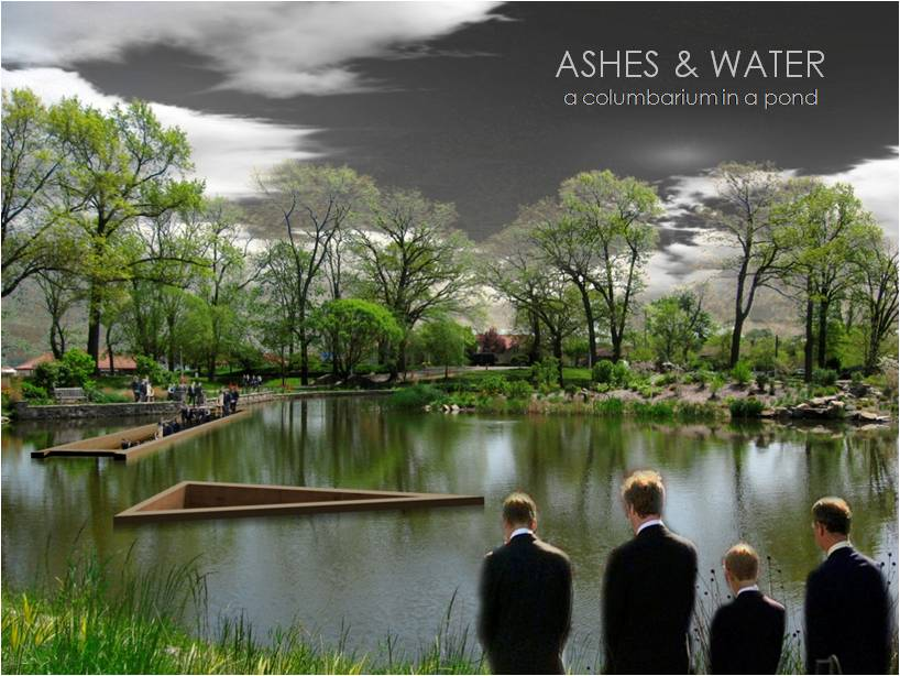 ASHES & WATER. a columbarium in a pond