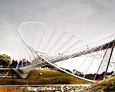Meadows Salford Elliptical Bridge Landmark Proposal By Penda