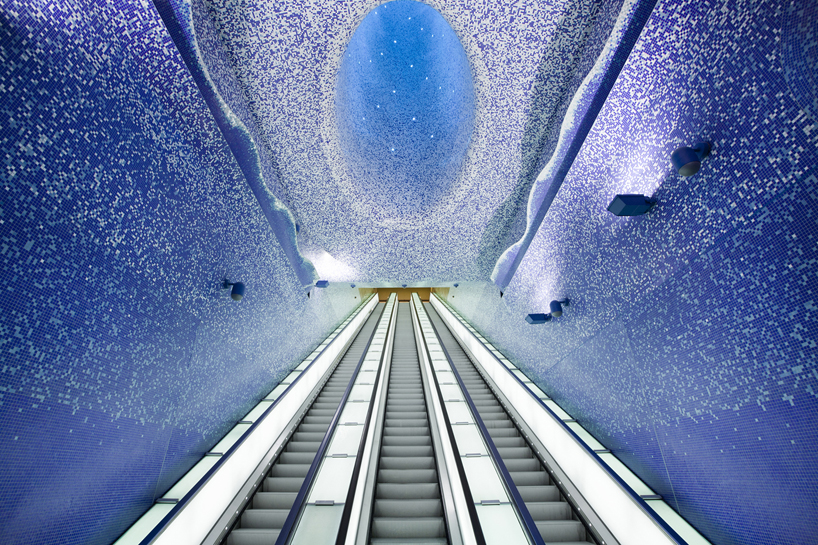 napoli's toledo metro station covered in a sea of blue bisazza mosaics