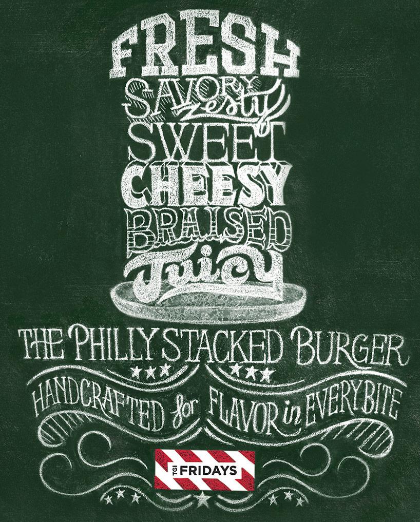 TGI Fridays Burger Launch Chalk Lettering By Scott Biersack