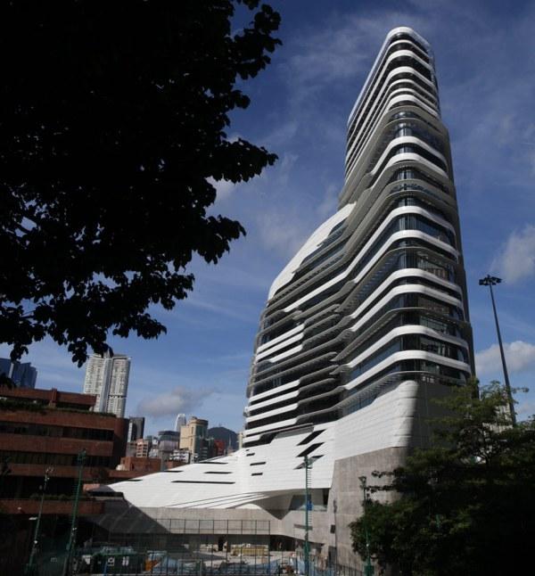 jockey club innovation tower by zaha hadid at hong kong polyU