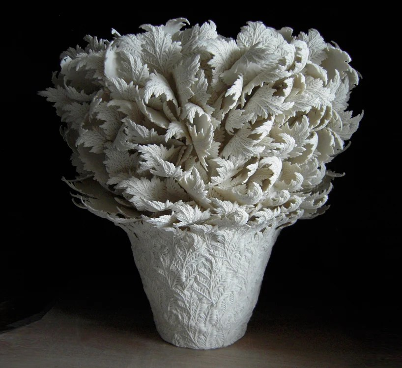 hitomi hosono intricately crafts botanical influenced ceramics