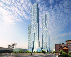 phase one of new jersey's tallest residential towers breaks ground