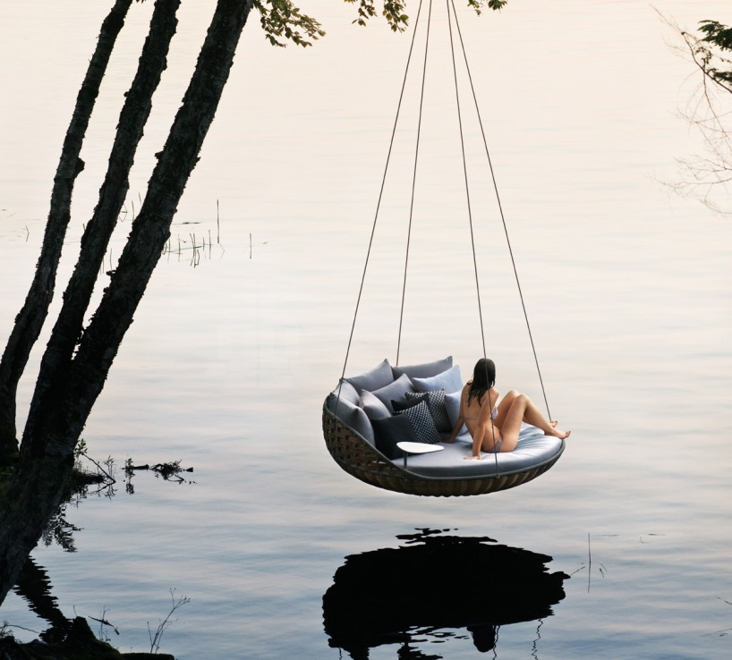 daniel pouzet's swingrest hanging outdoor lounge for dedon