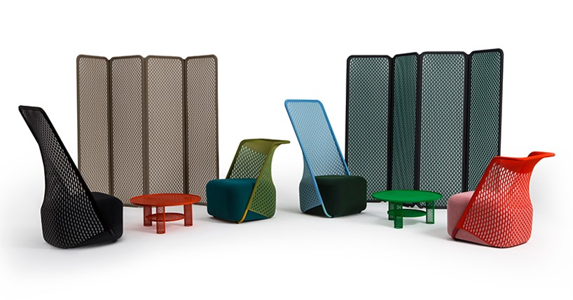 benjamin hubert's cradle collection for moroso uses a three-dimensional stretched fabric