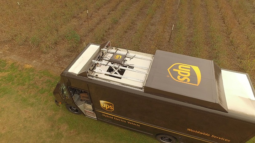 UPS Delivery Drone Takes Off From Atop Package Car