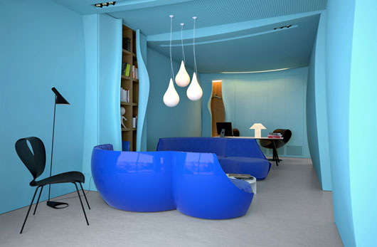 Modern Office Interior With Blue Color Scheme