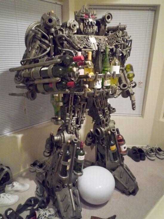 Scrap Metal Transformer Wine Rack