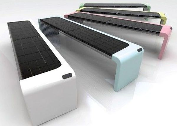 Solar powered park bench