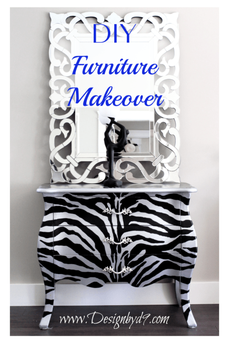 Upcycled Dresser. Zebra Bombay chest Do you love beautiful unique furniture, but hate the cost? No problem - You can make it yourself. Come and see how I took this old Bombay Dresser and up cycled it with metallic paint. Not a stencil. Free pattern for this zebra stipe pattern #paintedfurniture