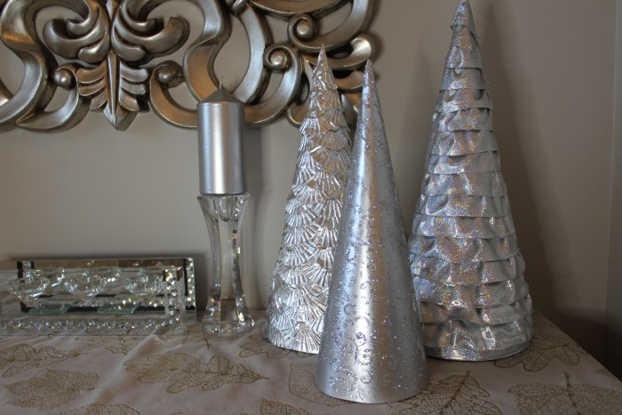 Easy to make DIY Cone trees in 3 finishes. Silver cone Trees.