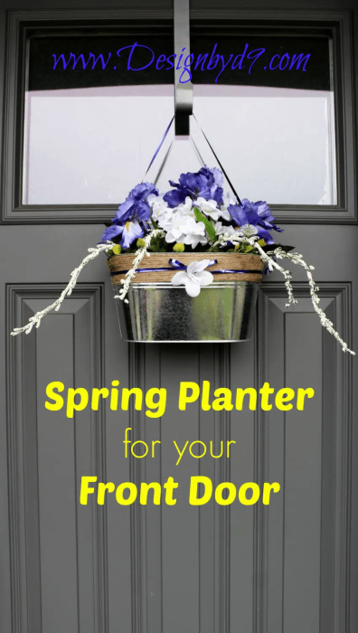 Spring Bucket Door Decor If you are bored with spring wreaths, why not do a planter made from galvanized tin? This is a nice change from a traditional wreath and can be either farmhouse or more minimal and modern. #doordecor