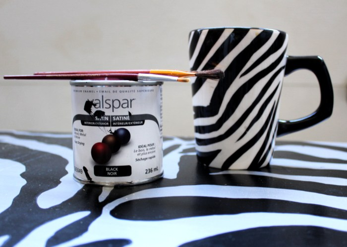 Getting my zebra on, to my up cycled furniture project.