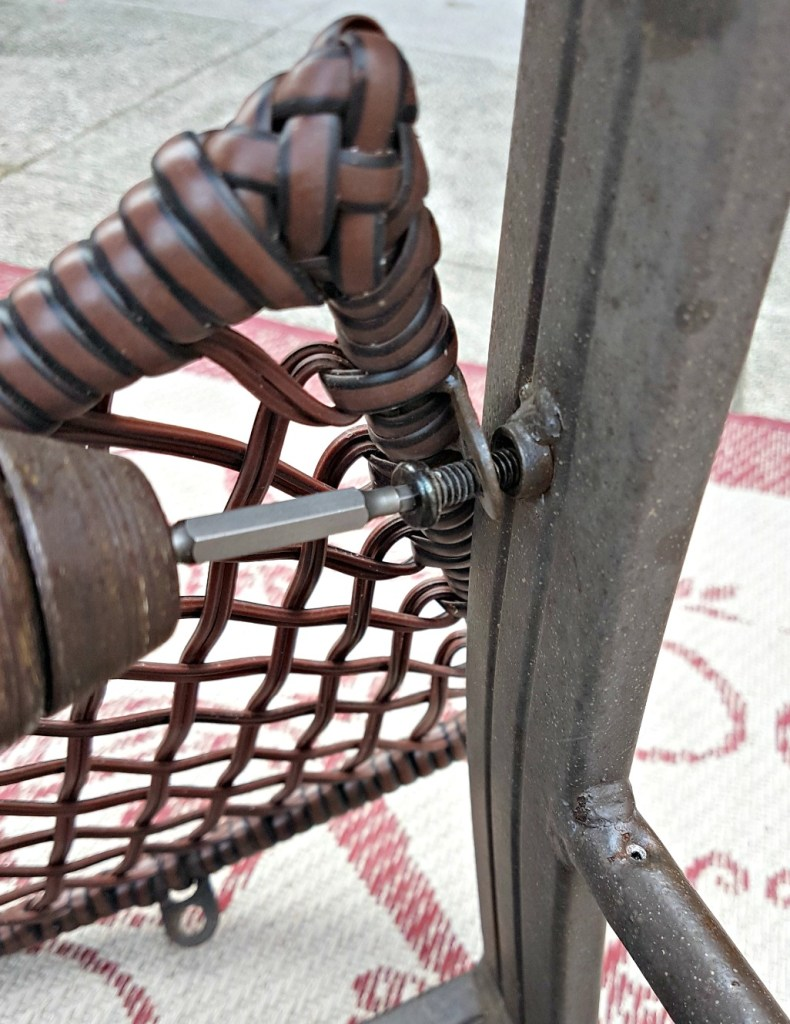 How to replace a patio chair sling.. #100RoomChallenge|$100 Room Challenge|Deck Refresh|Recover sling chairs|