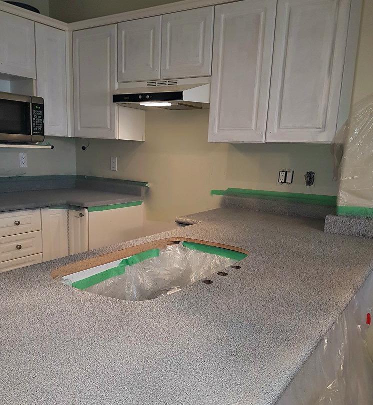 Make It Stone paint on laminate kitchen counters