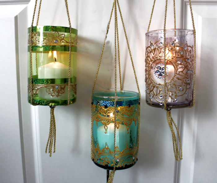 Easy to make DIY Moroccan Lanterns using dollar store vases and 3d paint. You can use these as candle holders or hang them up.