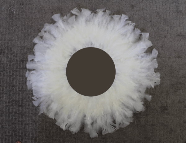 How to make a perfectly round feather mirror using goose feathers. This is how I made my mirror as perfectly circular as possible. Feather wall decor. The failure one.