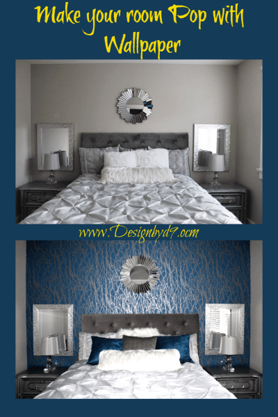 Make your room come alive by adding wallpaper. Add some glamour to your decor. Wallpaper can make a room pop.