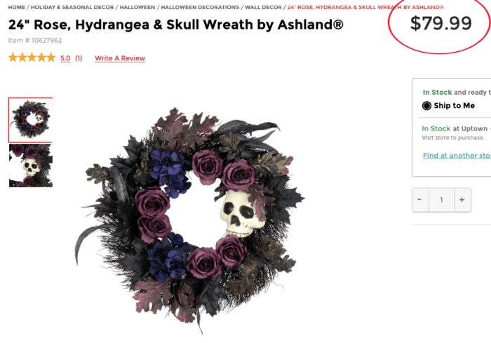 Michael's Rose hydrangea skull wreath for my dupe