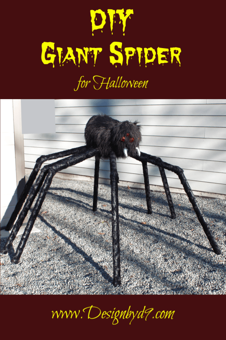 DIY Giant Spider for Halloween. Make it yourself. Creepy halloween spider. Giant outdoor spider.