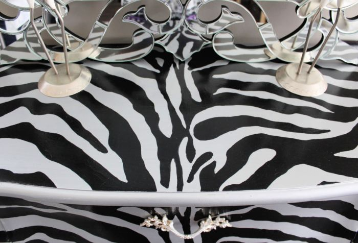 Up cycled Bombay chest with zebra stripes. Full step by step tutorial and free pattern. I'll walk you through this furniture makeover. This upcycle will work on any piece of furniture. detail top of dresser