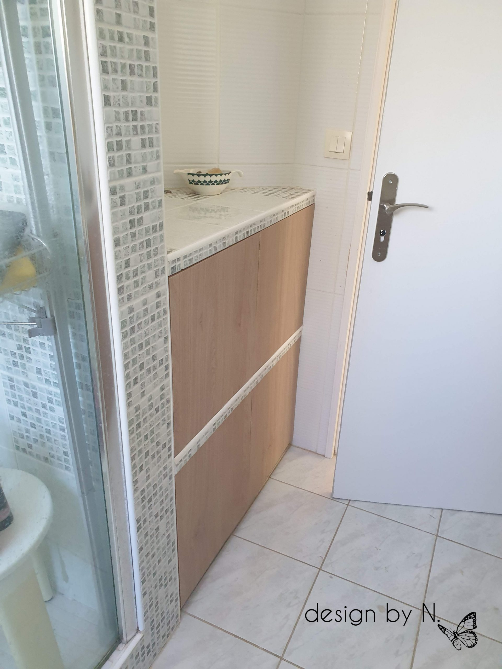 photo après relooking des meubles de la salle de bain