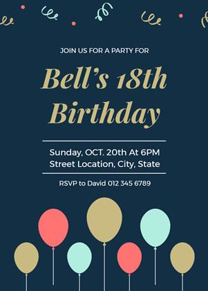 create 18th birthday invitation online