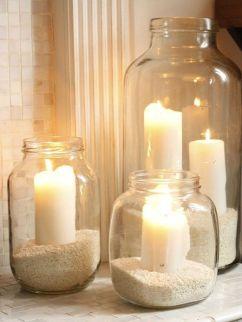 Ideias para decoração usando potes de vidro e velas
