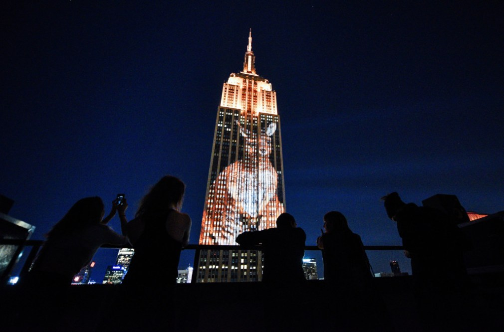 NEW YORK, NY - AUGUST 01:  A view of general atmosphere during Projecting Change: The Empire State Building at The Empire State Building on August 1, 2015 in New York City.  (Photo by Grant Lamos IV/Getty Images for The Oceanic Preservation Society)