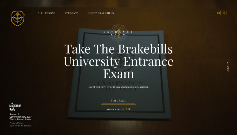 Take the Brakebills University Entrance Exam