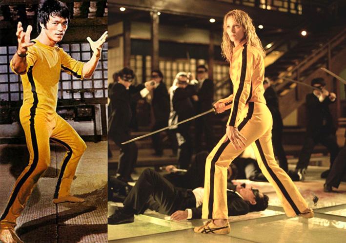 Comparação entre as roupas das personagens principais em O Jogo da Morte e Kill Bill, respectivamente